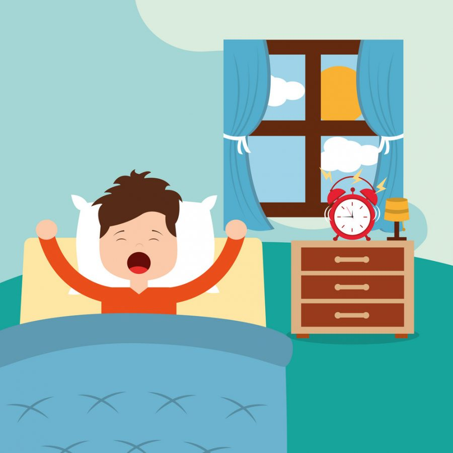 Vector+illustration+of+Little+boy+waking+up+in+a+bed+on+white+background+vector+illustration